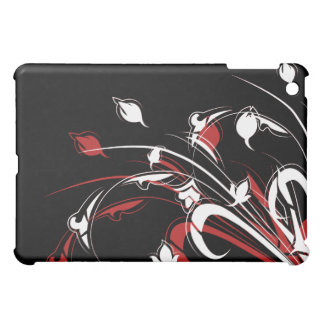 Red and White Flowers on Black iPad Mini Cases