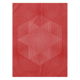 Red and White Geometric Lines Tablecloth
