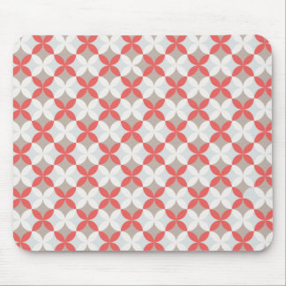 Red and white geometric pattern mouse pad