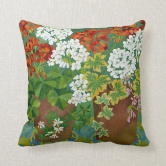 Red and white geraniums in pots 2013 throw pillow