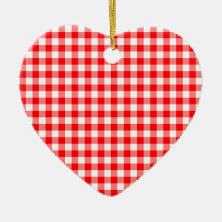 Red and White Gingham Checks Ceramic Heart Ornament