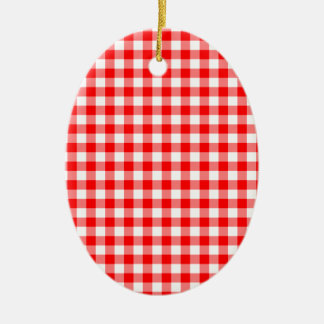 Red and White Gingham Checks Ceramic Oval Ornament