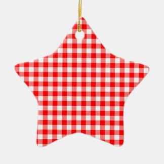 Red and White Gingham Checks Ceramic Star Ornament
