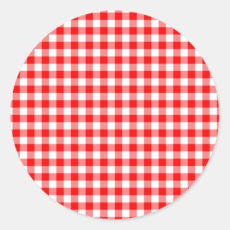 Red and White Gingham Checks Classic Round Sticker