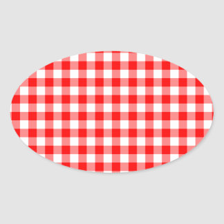 Red and White Gingham Checks Oval Sticker
