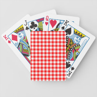 Red and White Gingham Checks Poker Deck