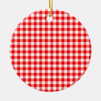 Red and White Gingham Checks Round Ceramic Ornament