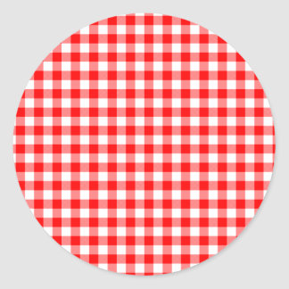 Red and White Gingham Checks Round Sticker