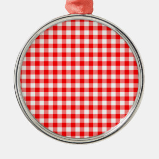 Red and White Gingham Checks Silver-Colored Round Ornament