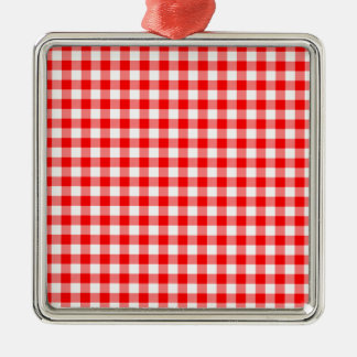 Red and White Gingham Checks Silver-Colored Square Ornament