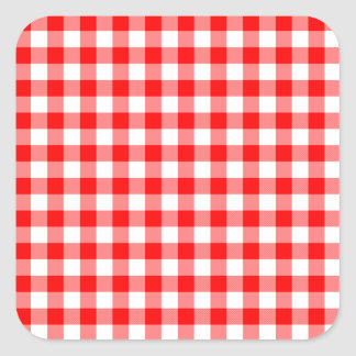 Red and White Gingham Checks Square Sticker