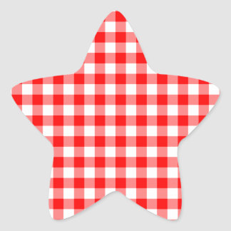 Red and White Gingham Checks Star Sticker