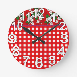 Red and white gingham country kitchen round clock