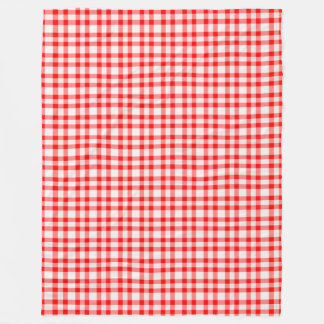 Red and White Gingham Pattern Large Fleece Blanket