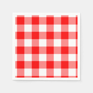 Red and White Gingham Pattern Paper Napkins