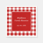 Red and White Gingham Pattern Personalized Paper Napkin