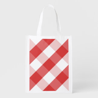 Red and white gingham pattern reusable grocery bag