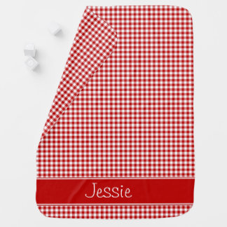 Red and White Gingham | Personalized Baby Blanket