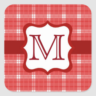 Red and White Gingham Plaid Monogram Square Sticker