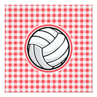 Red and White Gingham; Volleyball Card
