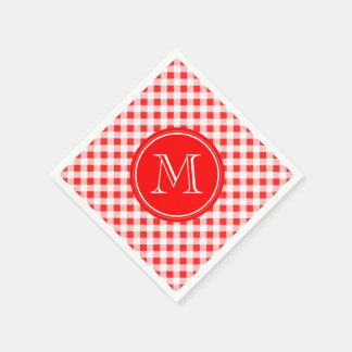 Red and White Gingham, Your Monogram Disposable Napkins
