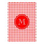 Red and White Gingham, Your Monogram Custom Invitation
