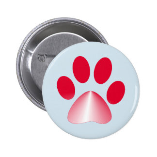 Red and White Gradient Animal Paw 2 Inch Round Button