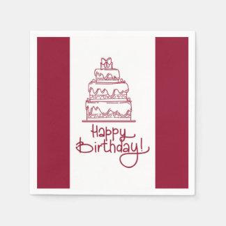 Red And White Happy Birthday Cake Design Paper Napkin
