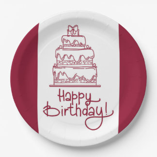 Red And White Happy Birthday Cake Design Paper Plate