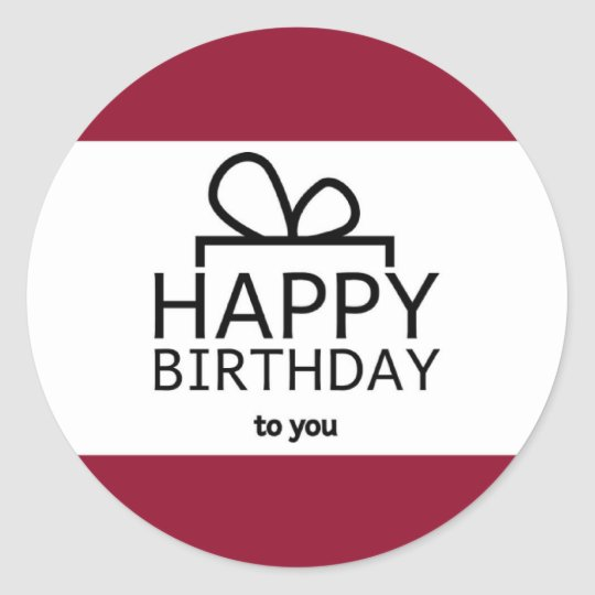 Red And White Happy Birthday Gift Design Classic Round Sticker