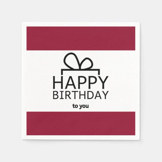 Red And White Happy Birthday Gift Design Paper Napkin