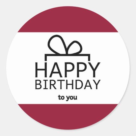 Red And White Happy Birthday Gift Design Round Sticker