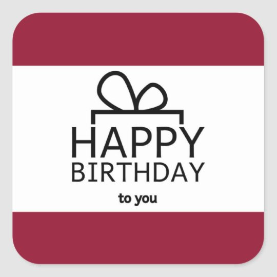 Red And White Happy Birthday Gift Design Square Sticker