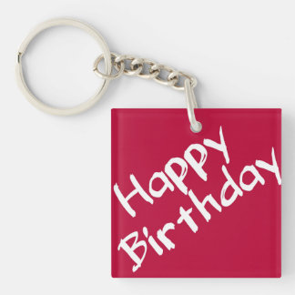 Red and White Happy Birthday Keychain