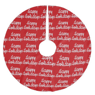 Red and White Happy Holidays Christmas Tree Skirt Brushed Polyester Tree Skirt