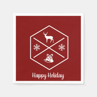 Red And White Happy Holidays Disposable Napkins
