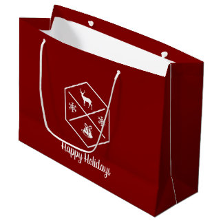 Red And White Happy Holidays Large Gift Bag