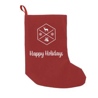 Red And White Happy Holidays Small Christmas Stocking