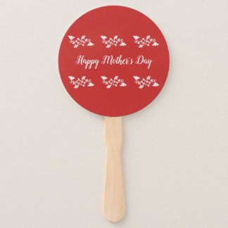 Red and White Happy Mother's Day Hand Fan
