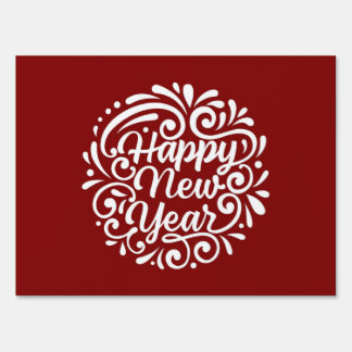 Red And White Happy New Year Design Sign