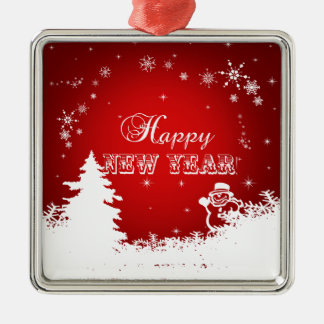 Red and White Happy New Year Typography Metal Ornament