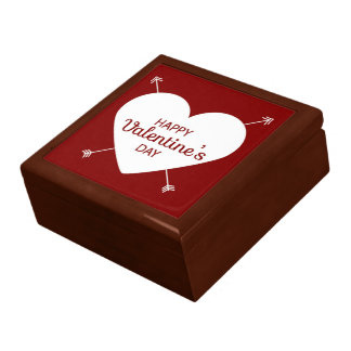 Red And White Happy Valentine's Day Heart Gift Box