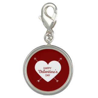Red And White Happy Valentine's Day Heart Photo Charm