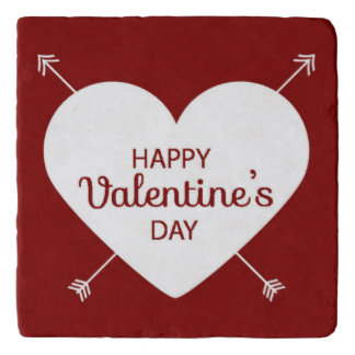 Red And White Happy Valentine's Day Heart Trivet