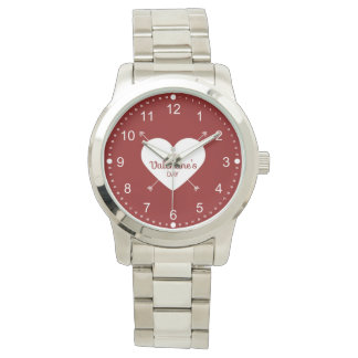 Red And White Happy Valentine's Day Heart Watch