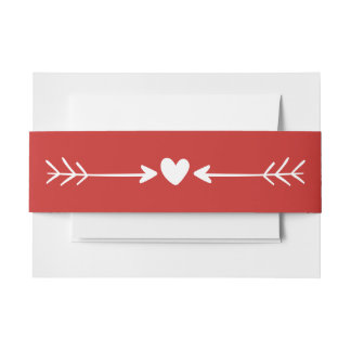 Red And White Heart & Arrows Wedding Invitation Belly Band