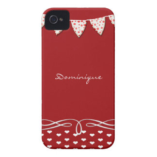 Red and White Heart Banner iPhone 4 Case
