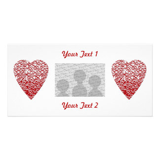 Red and White Heart. Patterned Heart Design. Custom Photo Card