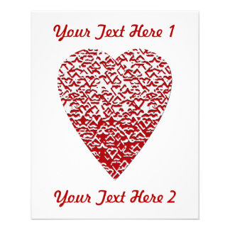 Red and White Heart. Patterned Heart Design. Flyer