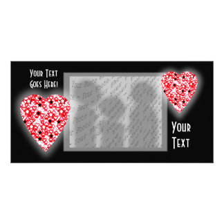 Red and White Heart. Patterned Heart Design. Picture Card